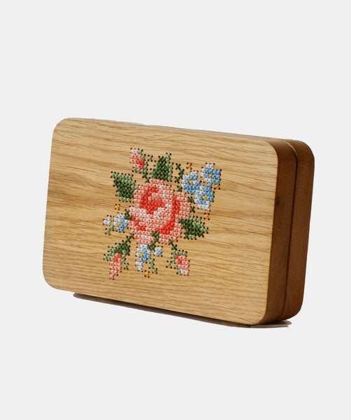 Rose Stitched Wood Clutch - GRAV GRAV