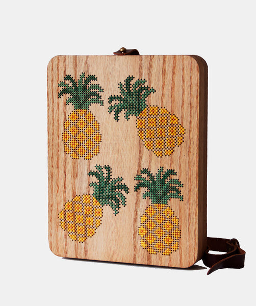 Pineapple Cross Stitched Oak Wood Backpack by Grav Grav $695