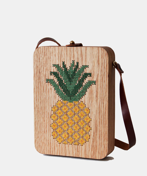 Pineapple Cross Stitched Oak Wood Bag by Grav Grav $305