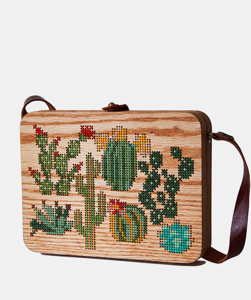 Plants Cross Stitched Oak Wood Bag by Grav Grav $490