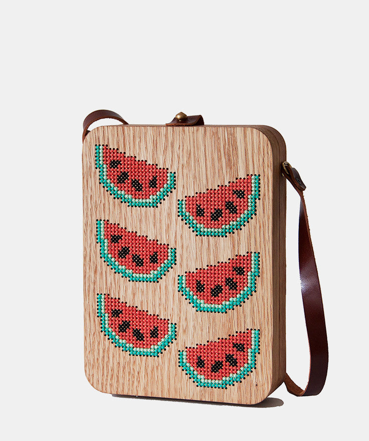 Watermelon Cross Stitched Oak Wood Bag by Grav Grav $400