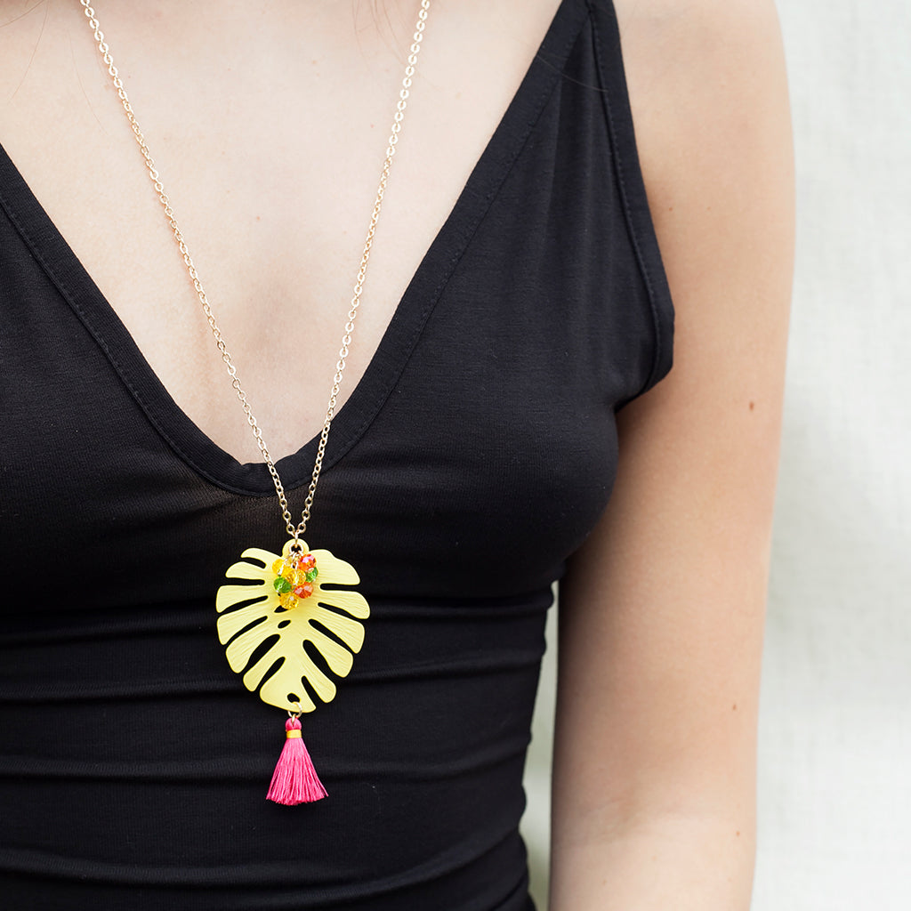 Gorgeous Yellow Monstera Leaf Necklace