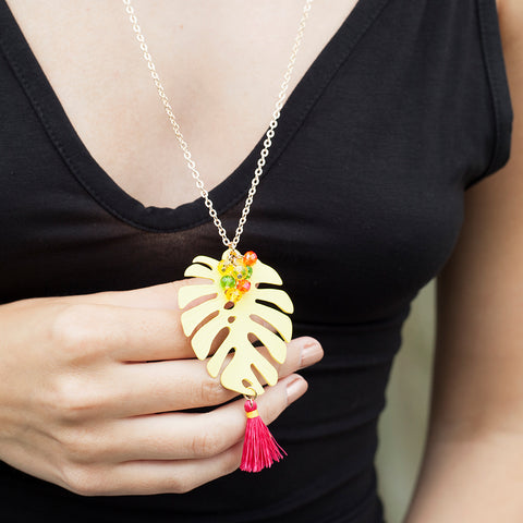 Monstera Leaf Yellow Necklace