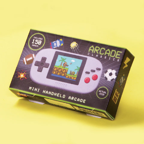 Handheld console with 150 games, battery operated.