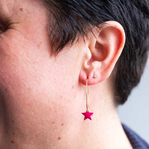 Enamel Star Hoops
