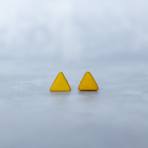 Small Yellow Triangle Earrings