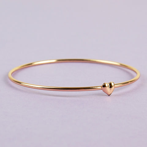 Gold Bangle with Small Heart, Perfect Gift for Valentines Day