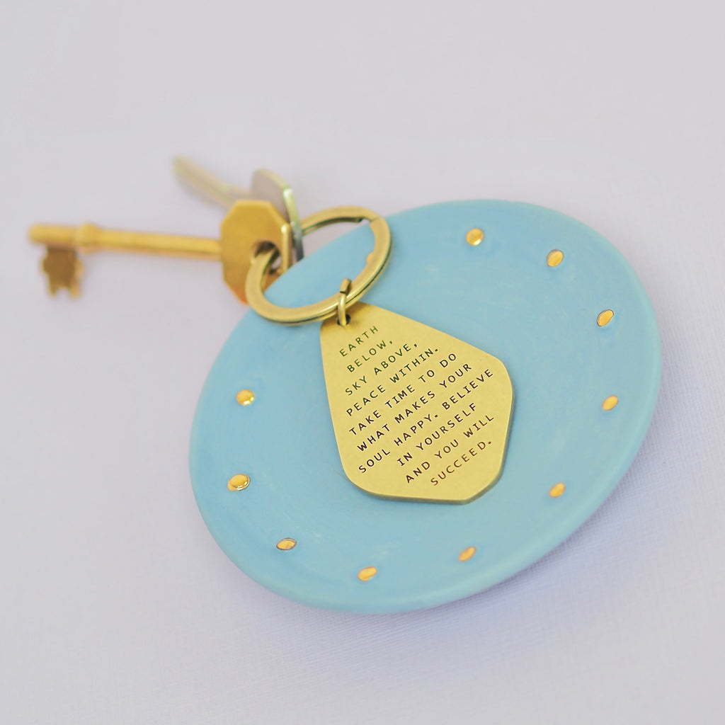 Believe In Yourself Antique Brass Keyring.