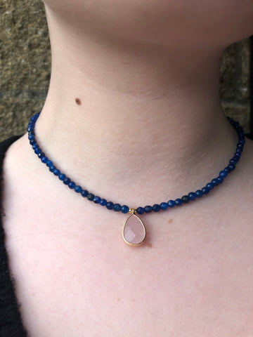 Blue Beaded Necklace with Pink Stone