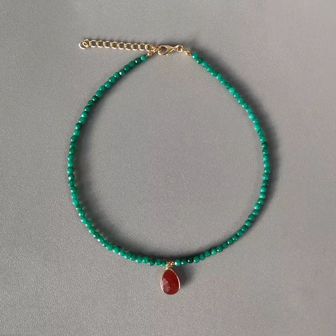 Beaded Teardop Chalcedony Necklace