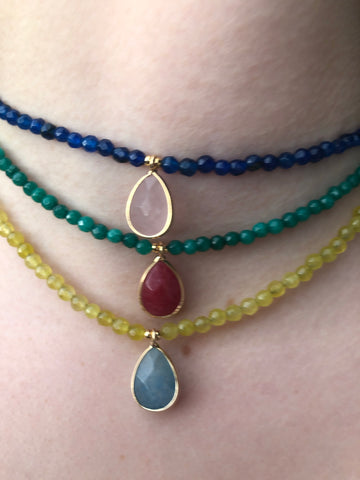 Blue, Green, Yellow Beaded Necklace