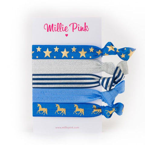 5 Hair ties in Blue, with Unicorns or Stars, great gift or party bag filler.