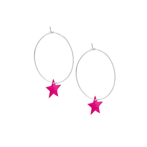 Pretty Hoop Earrings with Pink Enamel Star