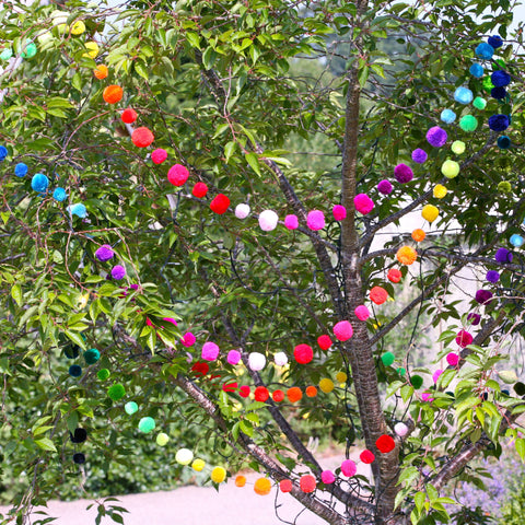 Rainbow Wool Pom Pom Garland
