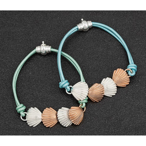 Rose Gold and Silver Shells Bracelet with leather strap