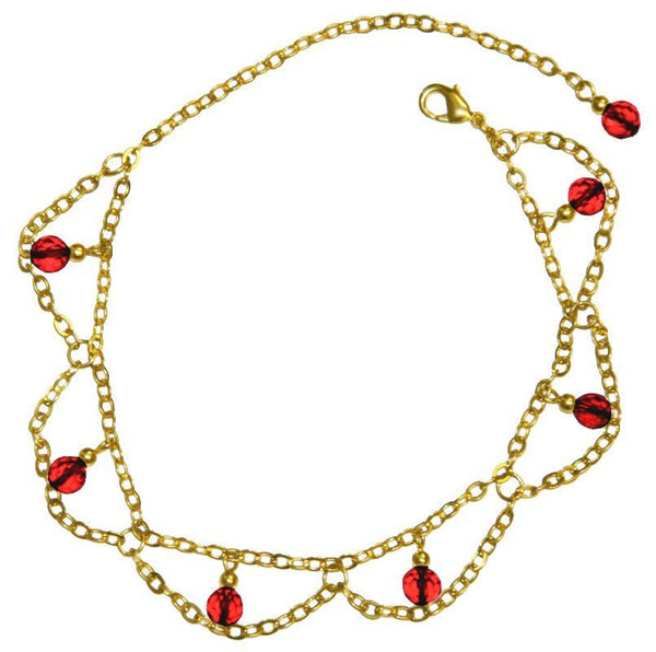 anklet gold dangling beads and chains