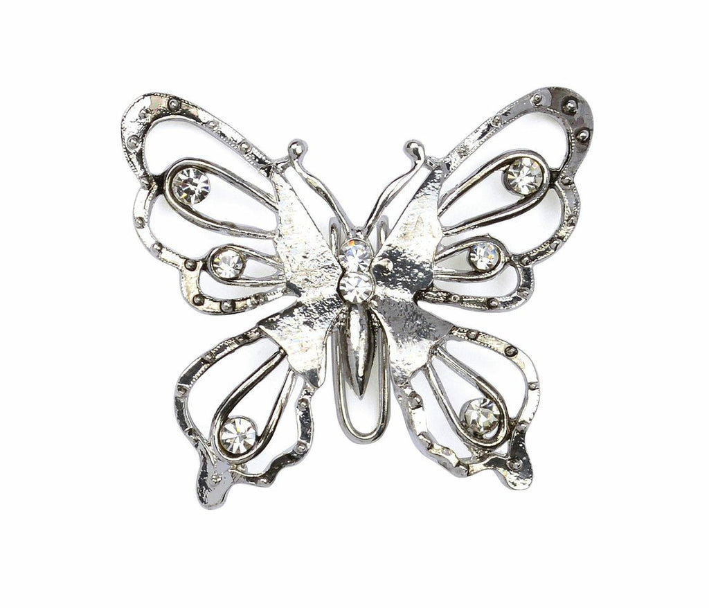 Hair Hook Diamond Butterfly - Silver, Ponytail Holder
