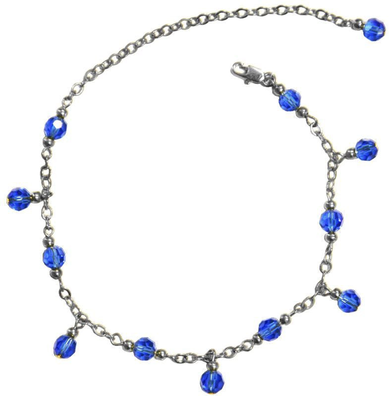 Medieval Metal - Anklet Silver Dangling Blue Beads (AT-02-BL-S)