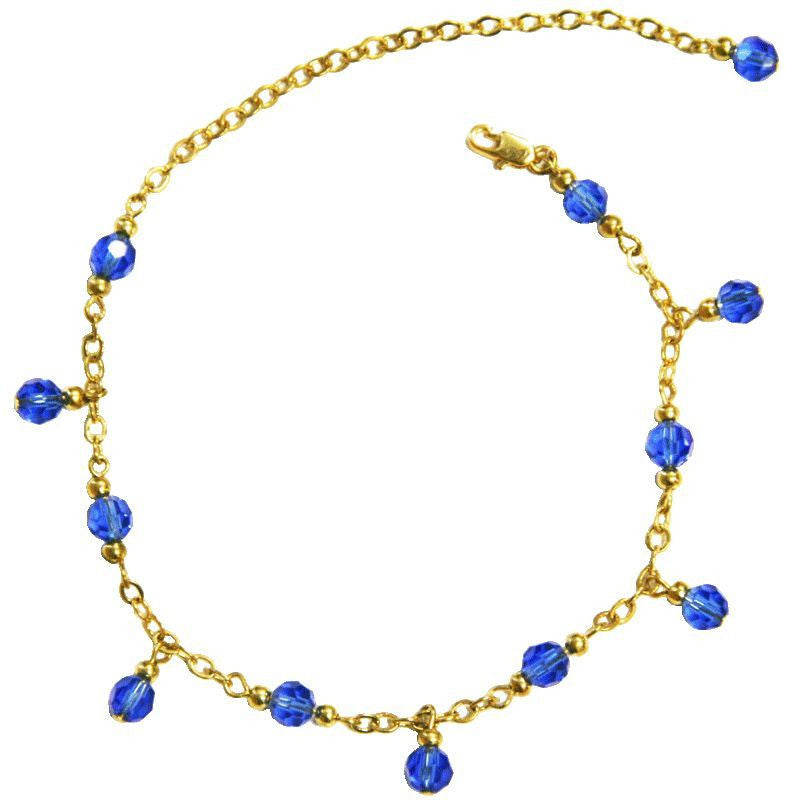 Medieval Metal - Anklet Gold Chain and Blue Dangling Beads Front View (AT-02-BL-G)