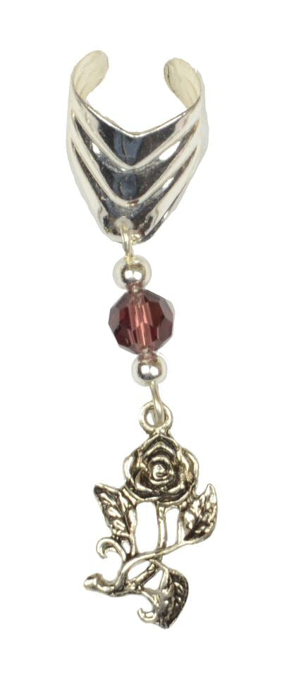 Ear Cuff With Charm Rose - Silver