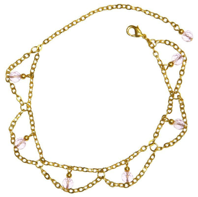 Anklet Gold Dangling Beads & Chains