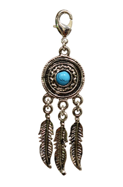 Charm Large Silver - Dream Catcher Feathers