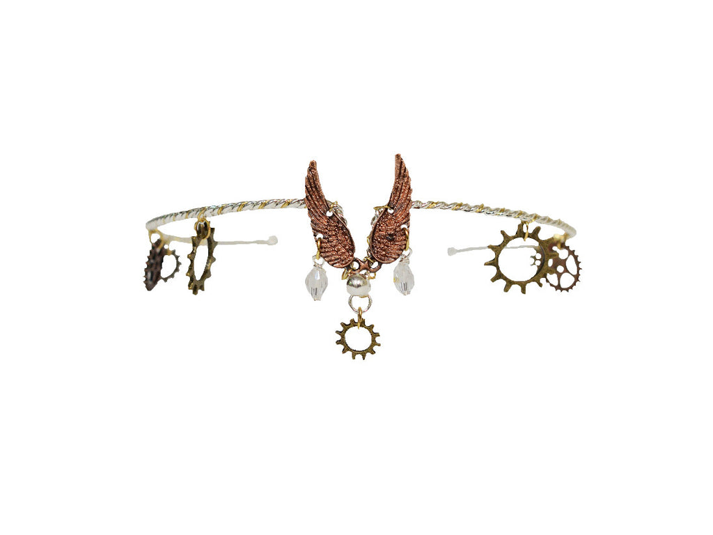 Winged Warrior Steampunk Crown - Dual Tone Silver