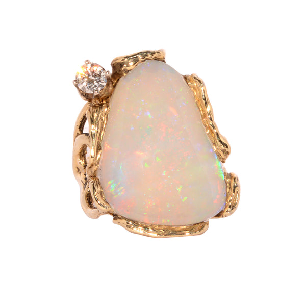 Opal and Diamond Nugget Ring