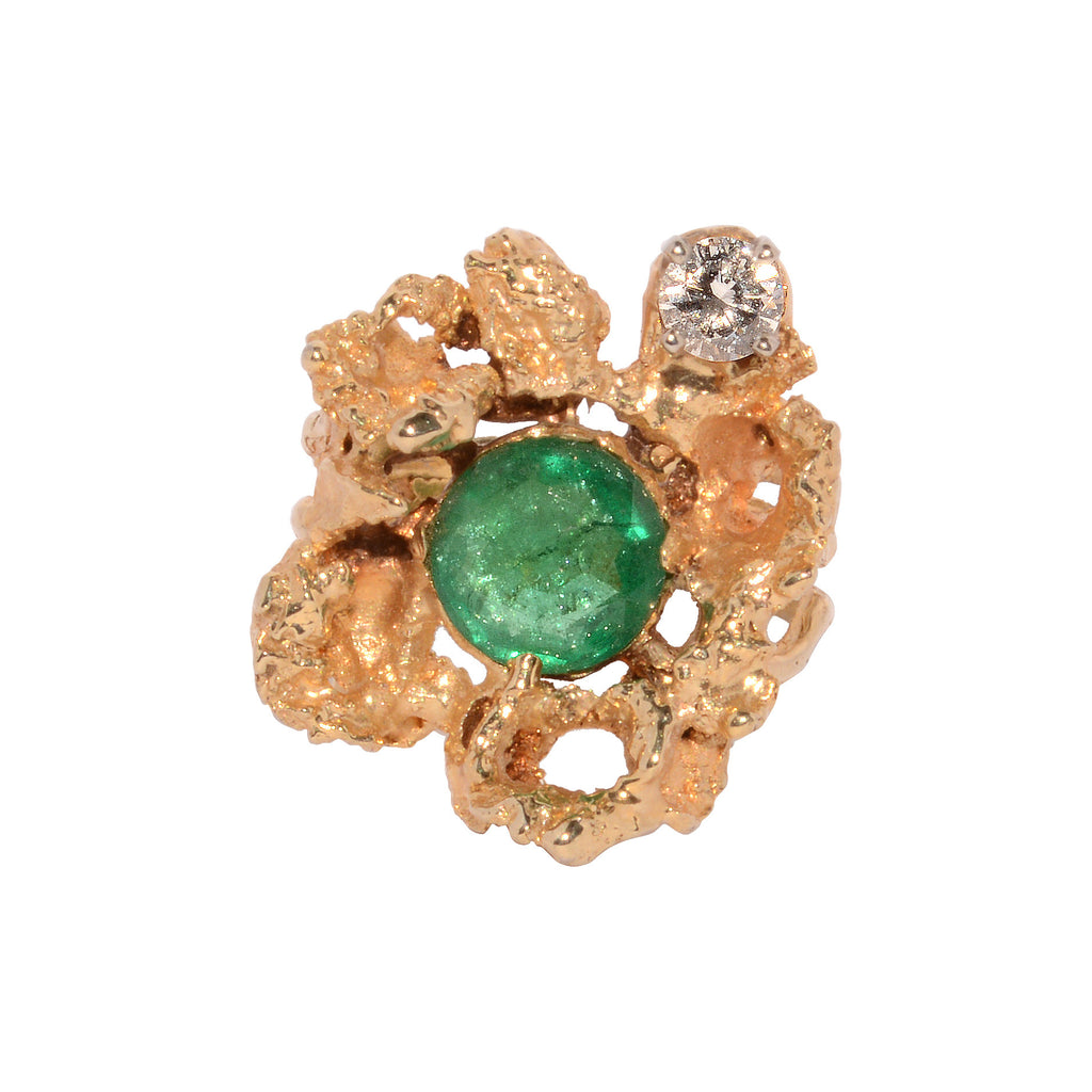 Gold Emerald and Diamond Nugget Ring