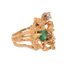gold emerald diamond nugget ring