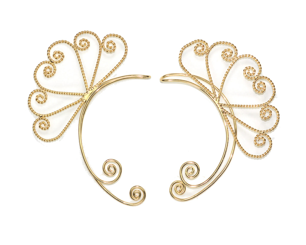 Elf Cuff Heart Spirals - Gold