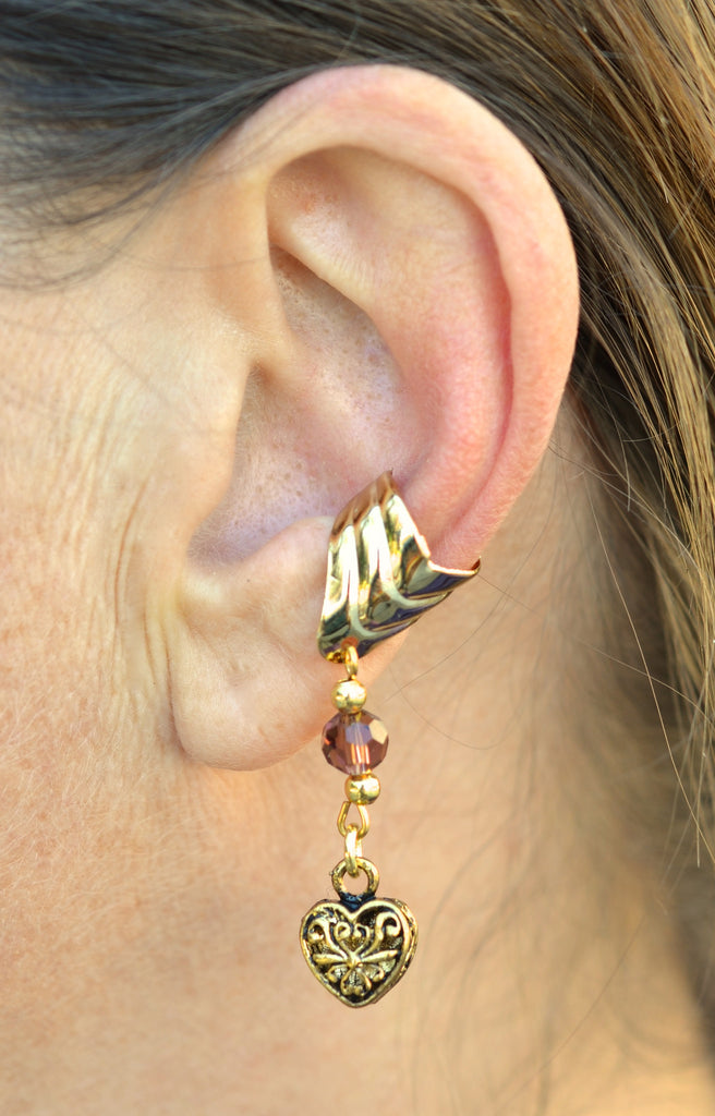 Ear Cuff With Charm Love Heart - Gold