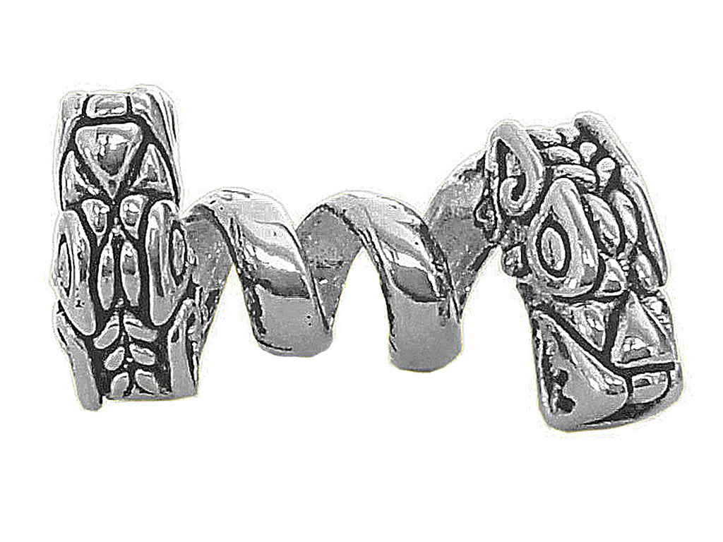 New! Double Headed Dragon Hair Bead - Silver