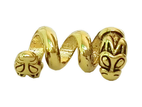 New! Double Headed Dragon Hair Bead - Gold - Mini