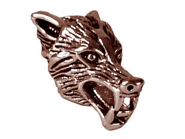 New! Wolf's Head Hair Bead - Copper