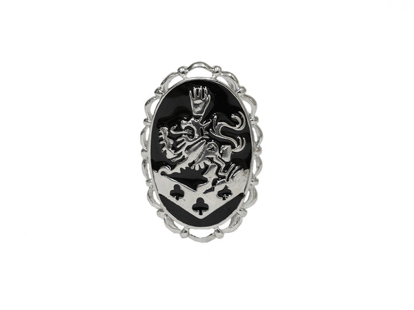 Hair Hook Kingdom Crest - Black Enamel, Ponytail Holder