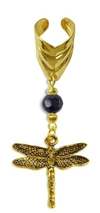 Ear Cuff With Small Charm Dragonfly - Gold
