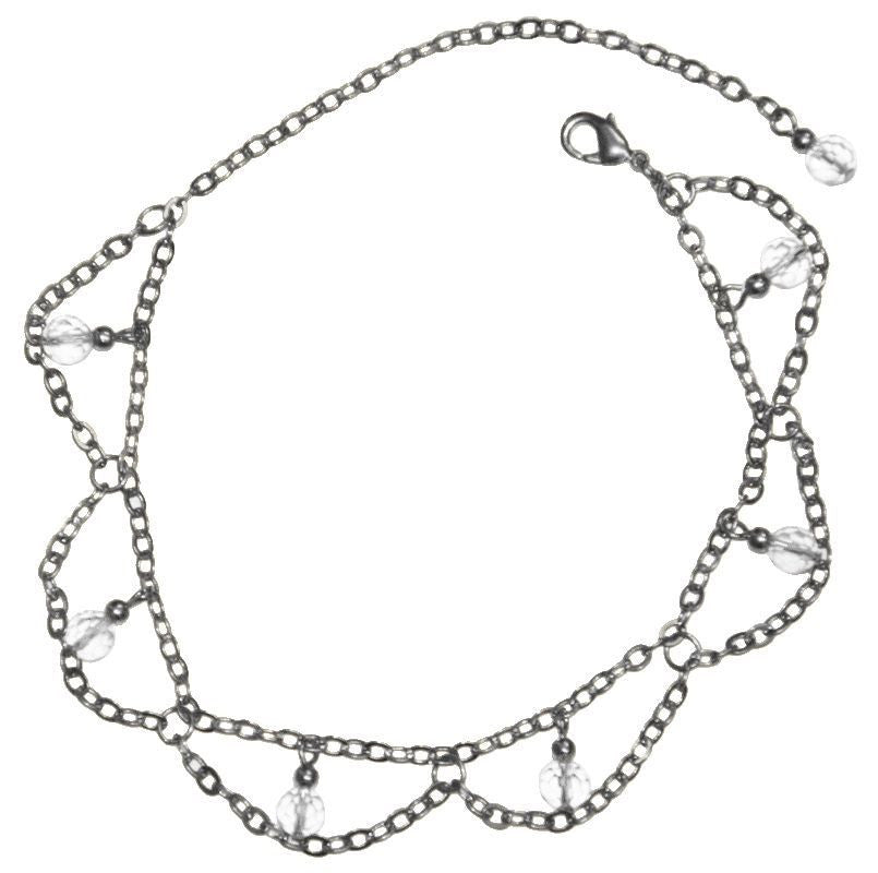 Medieval Metal - Anklet Dangling Clear Beads & Silver Chains (AT-03-CL-S)