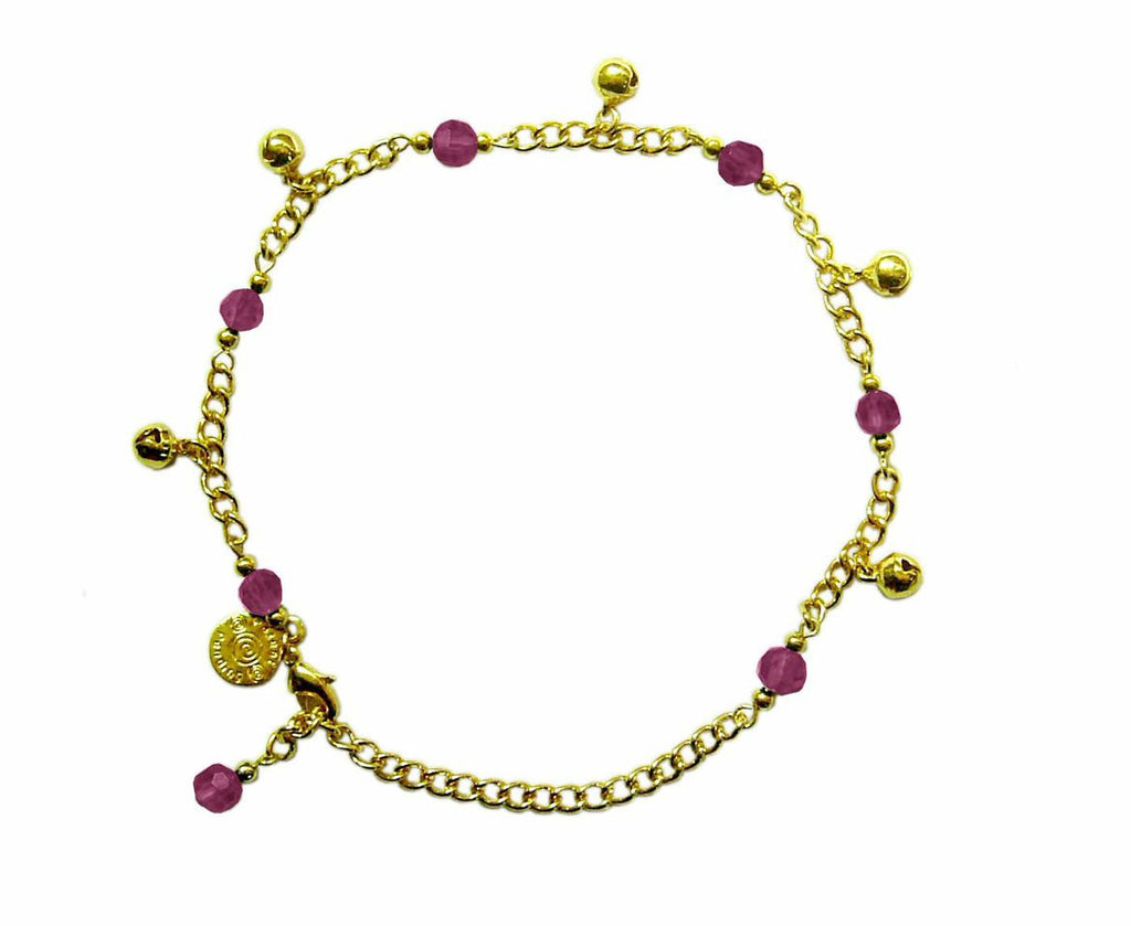 Medieval Metal - Anklet Gold Bells and Purple Beads (AT-04-PU-G)