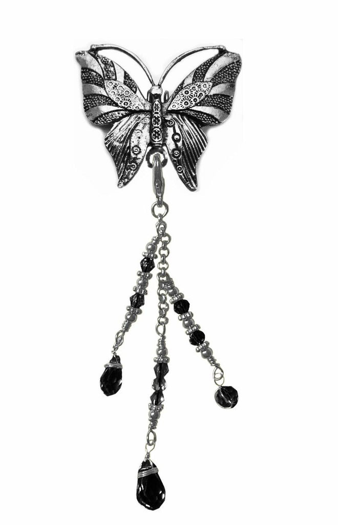 Hair Hook Silver Butterfly with Bead Charm Ponytail Holder