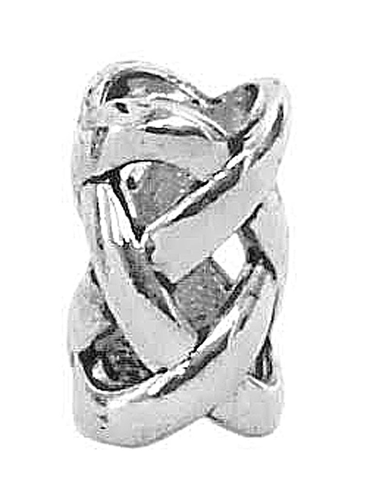 New! Open Weave Hair Bead - Silver