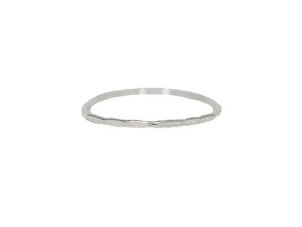Hammered Thin Band Ring - Sterling Silver