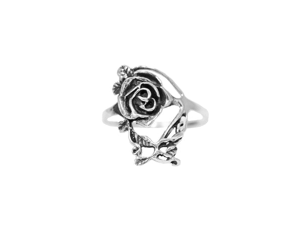 Single Rose Ring - Sterling Silver