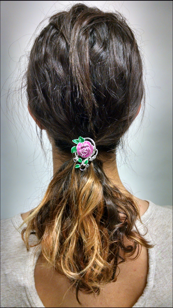 Hair Hook Enamelled Rose - Silver, Ponytail Holder
