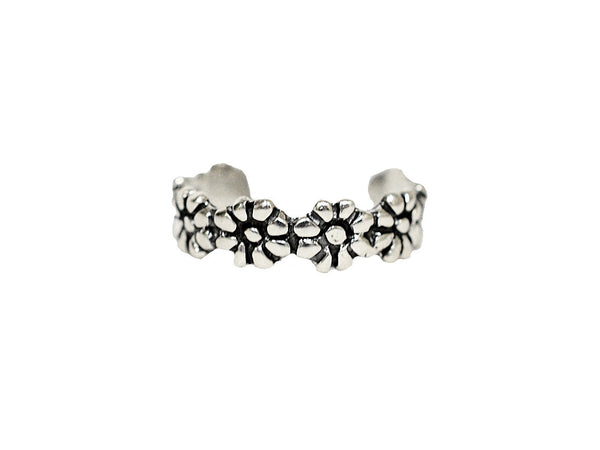 New! Daisy Chain Toe Ring - Sterling Silver