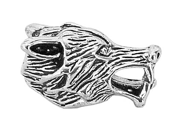 New! Wolf's Head Hair Bead - Silver
