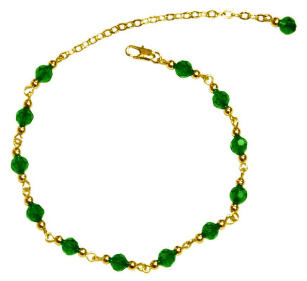 Medieval Metal - Anklet Gold Bells and Green Beads (AT-01-GN-G)