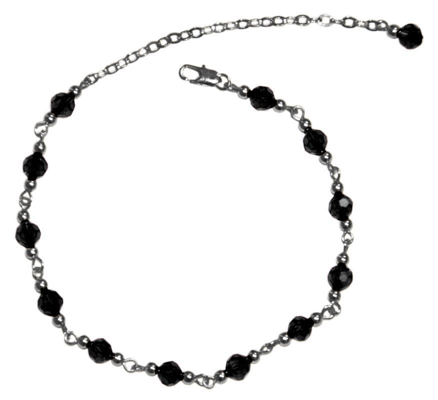 Medieval Metal - Anklet Silver Black Beaded Front View (AT-01-BK-S)