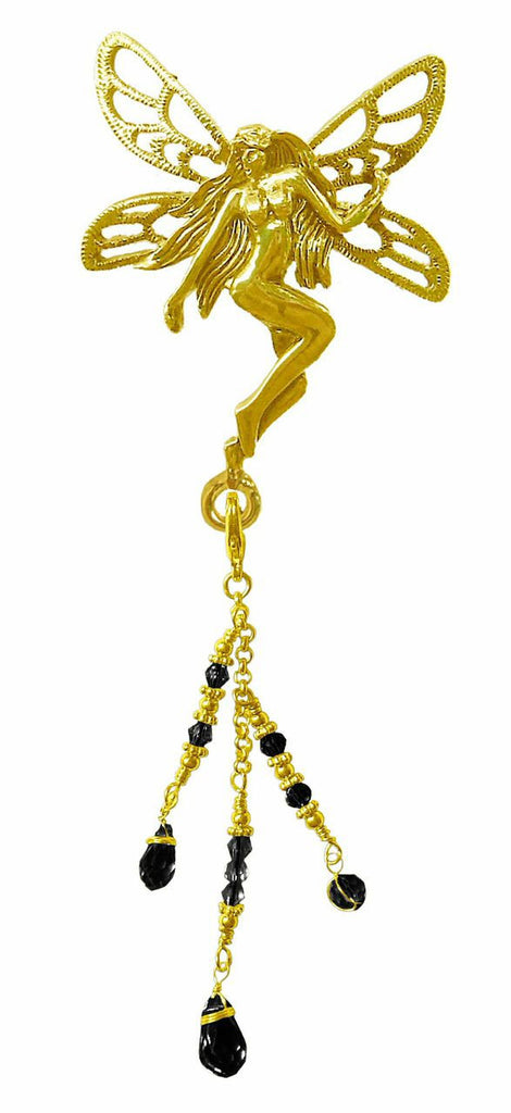 Hair Hook Gold Tinkerbell With Bead Charm Ponytail Holder