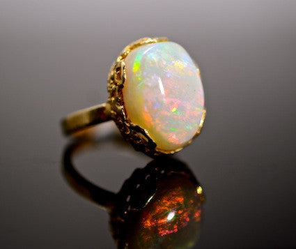 Medieval Metal - Ball of Fire Opal Ring, Front View (R-BOFOR)